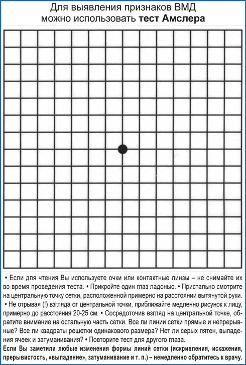 Для выявления признаков ВМД можно использовать тест Амслера